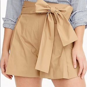 J Crew Tie Waist Short in Cotton Poplin